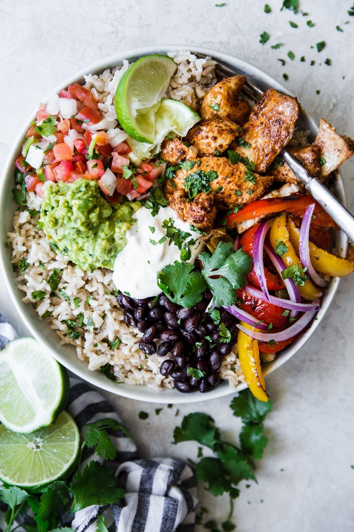 Chicken Fajita Burrito Bowl The Modern Proper