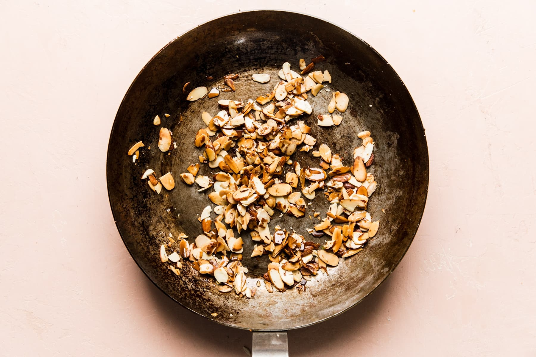 Thanksgiving food recipes meal  toasted almonds in a skillet