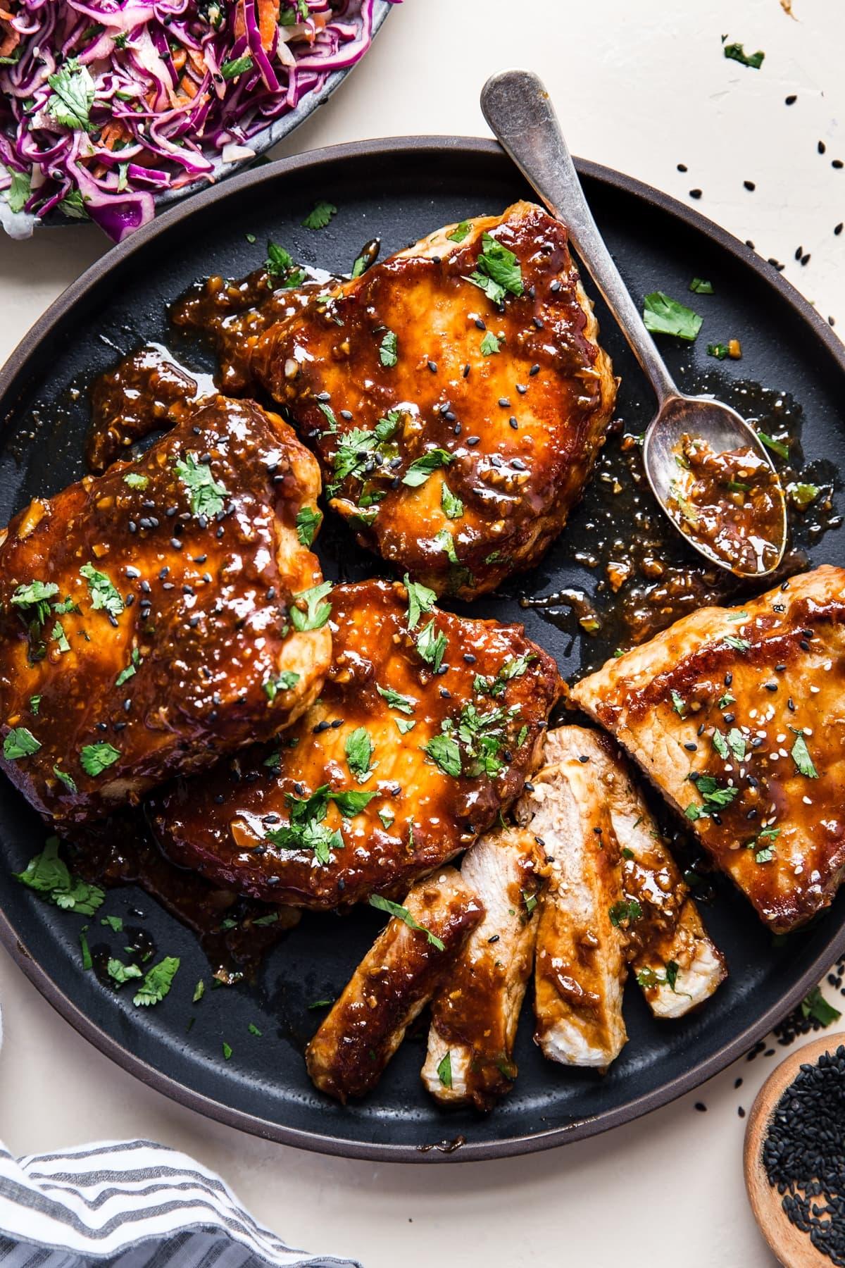 recipe pork chops hoisin sauce Hoisin Glazed Pork Chops