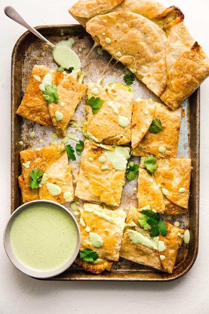 cheese and avocado sheet pan quesadilla with jalapeño ranch