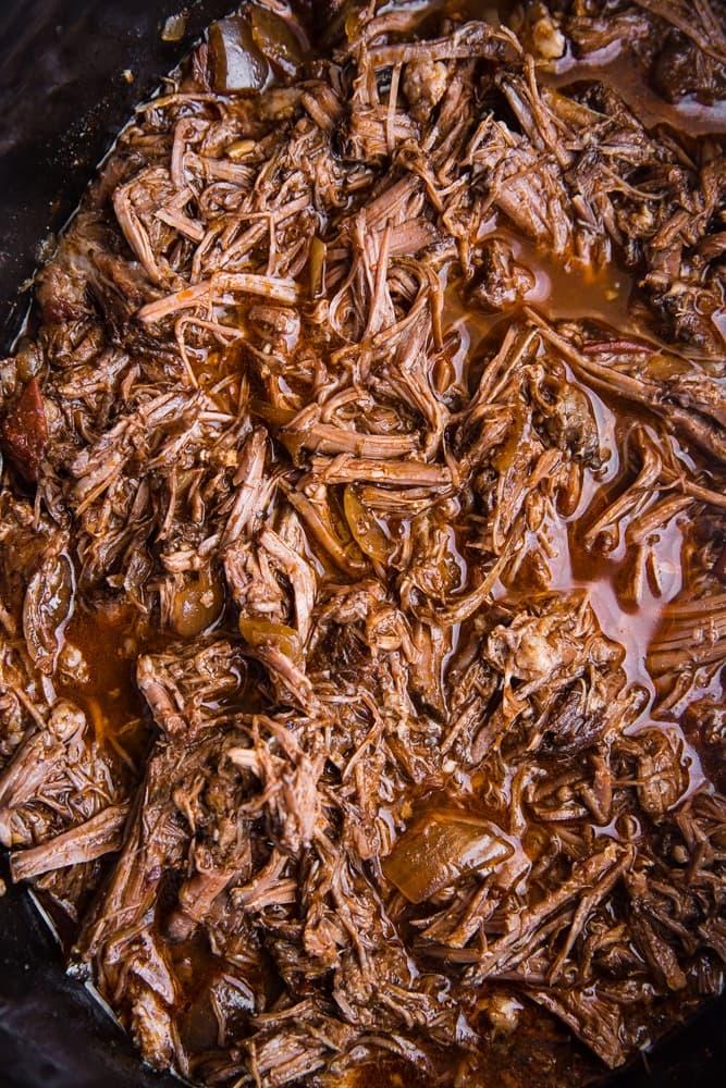 shredded Barbacoa Beef in a crock pot
